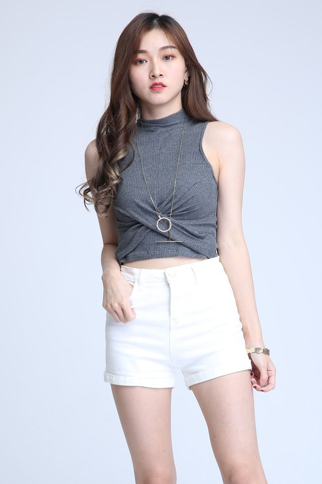 IN STOCK  - LONDON TWIST KNOT TOP IN GREY