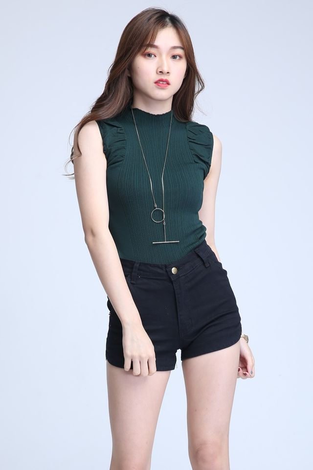 IN STOCK- ORZO KNIT TOP IN GREEN