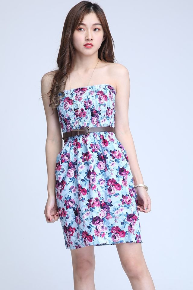 IN STOCK - FLORAL TUBE DRESS IN BLUE