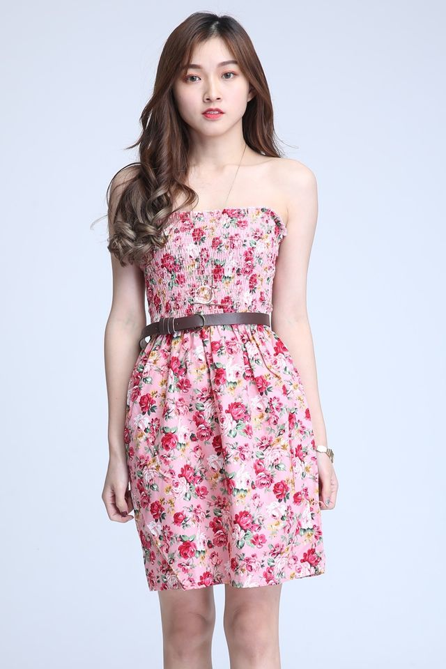 IN STOCK - FLORAL TUBE DRESS IN PINK