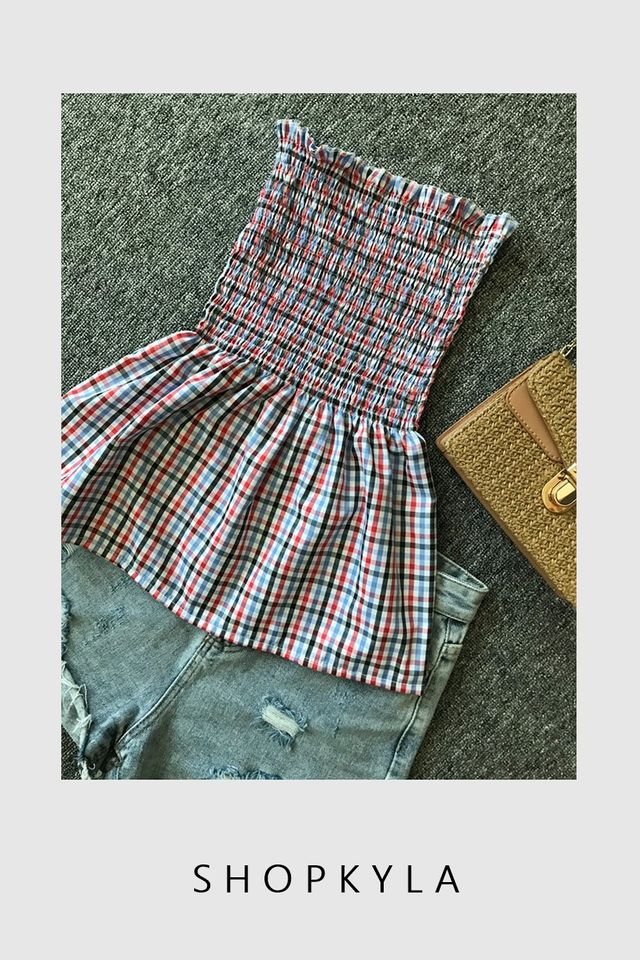 IN STOCK - CHECKERED TOP IN RED BLUE