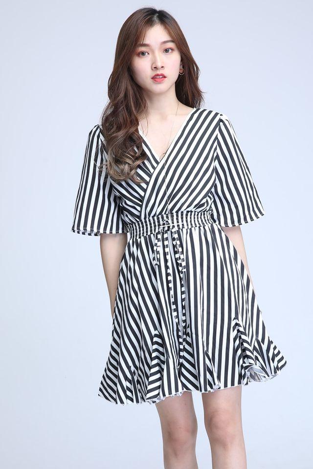 SG IN STOCK- TOBY STRIPES DRESS IN BLACK WHITE