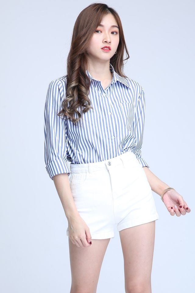 BACKORDER - CHLOE STRIPES BLOUSE IN BLUE WHITE