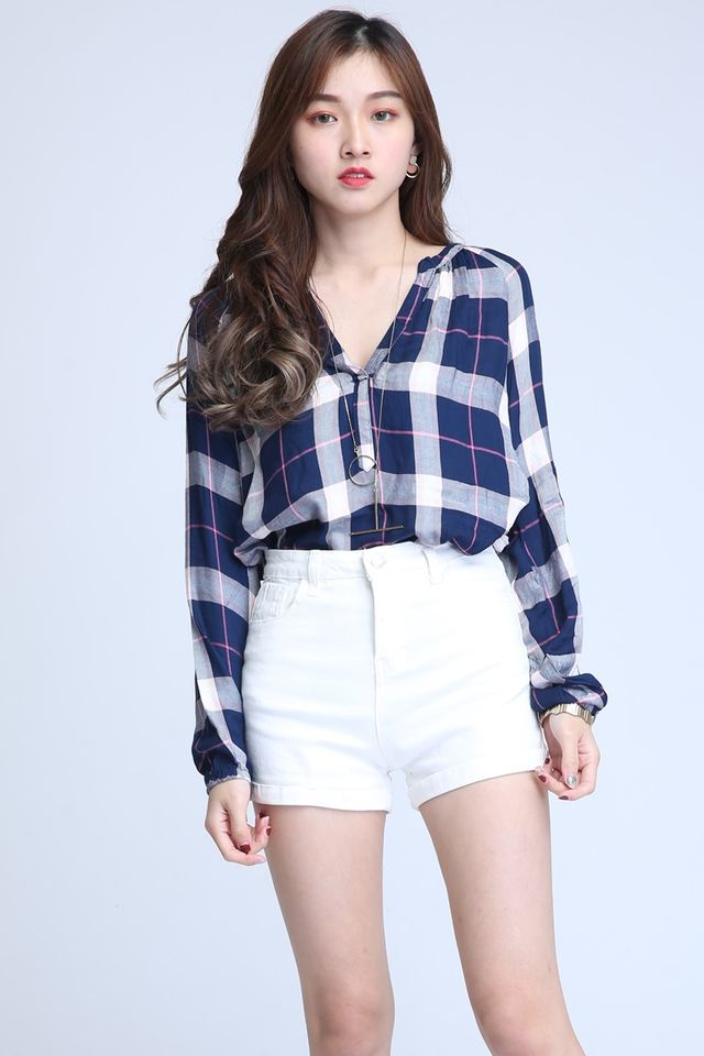 BACKORDER -TEX CHECKERED TOP IN PINK BLUE