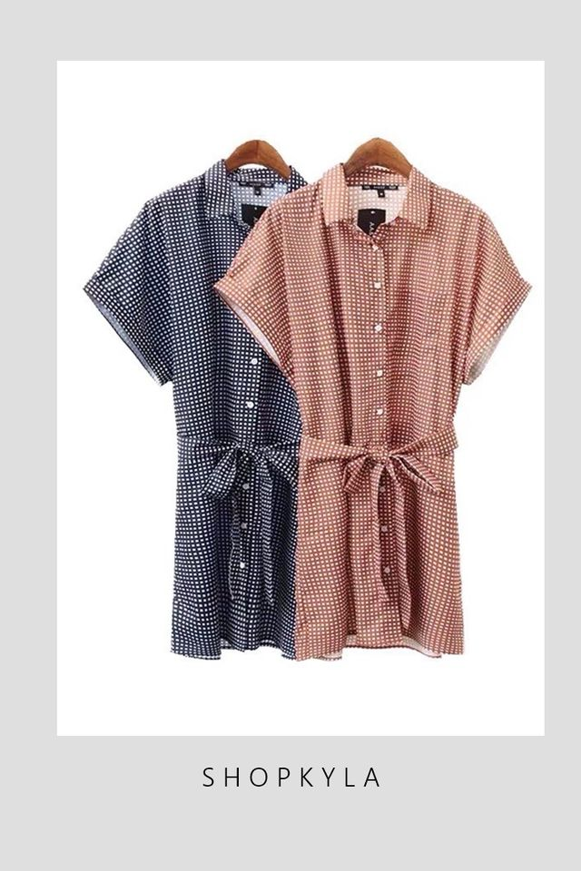 SG IN STOCK   -FAITH SHIFT BUTTON DOWN DRESS IN BROWN
