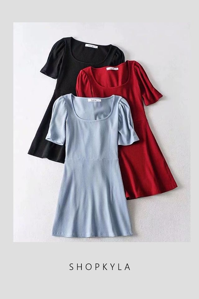 SG IN STOCK - PUFF SLEEVE KNIT DRESS
