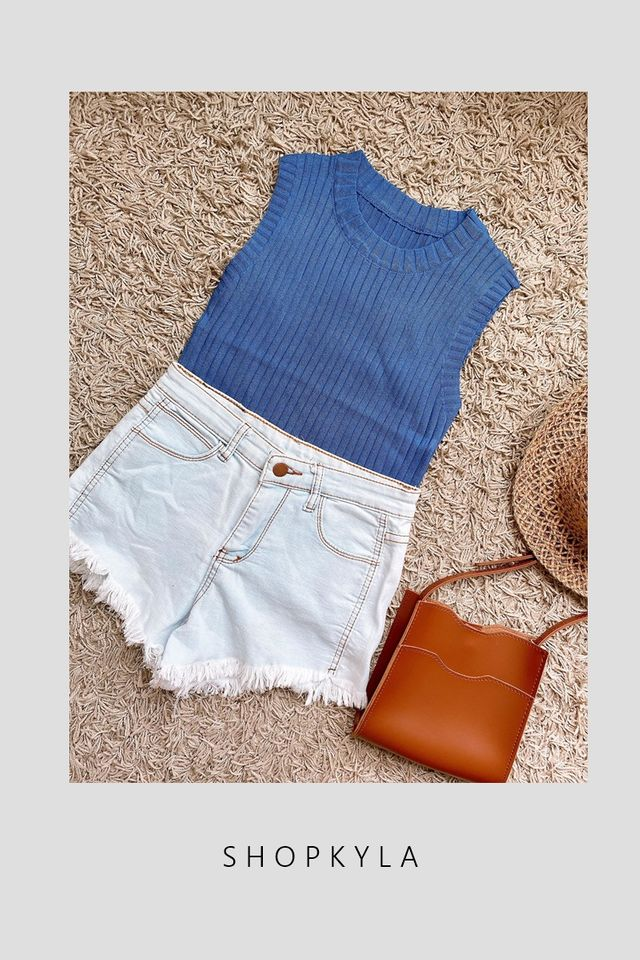 BACKORDER - TERRY KNIT TOP IN BLUE