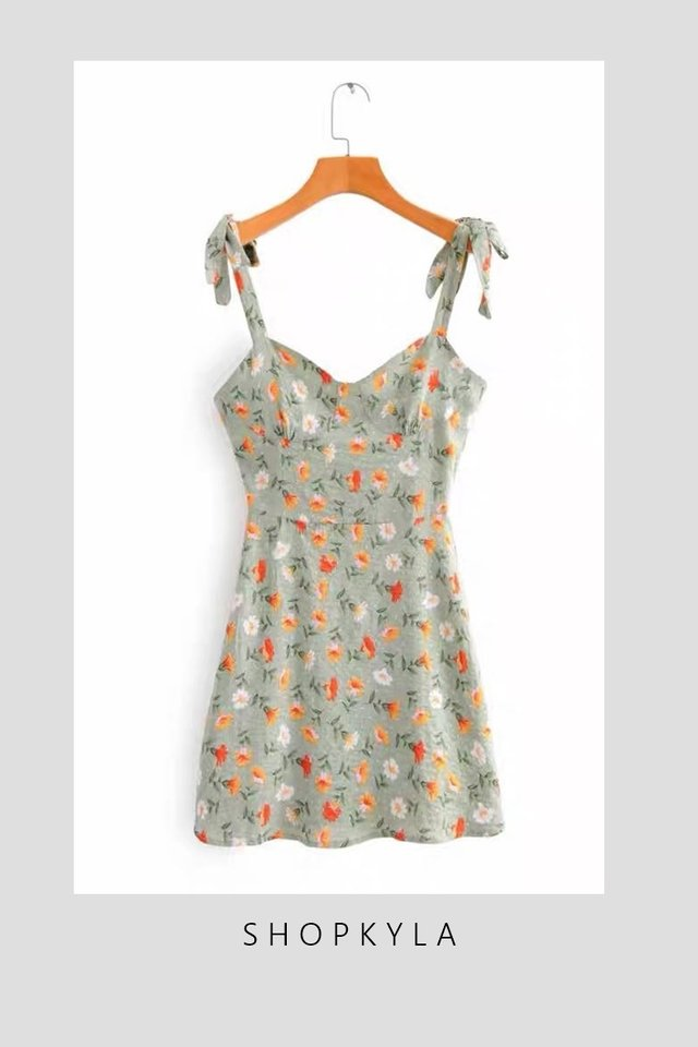 BACKORDER - SHALLY PRINTED DRESS IN GREEN