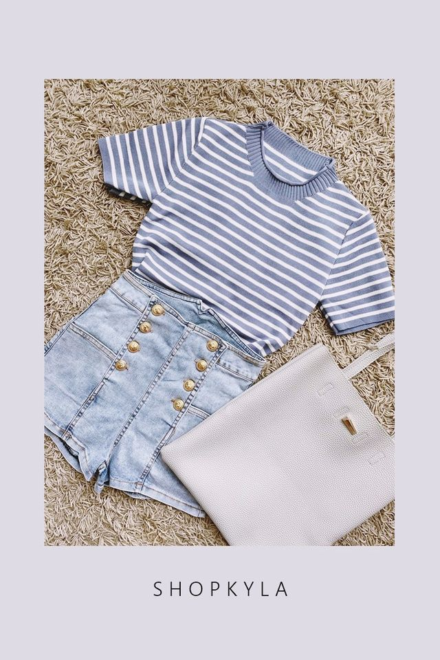 BACKORDER - JANNA STRIPES TOP IN BLUE