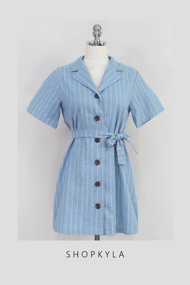 SG IN STOCk  - VENICE STRIPES DRESS IN LIGHT BLUE