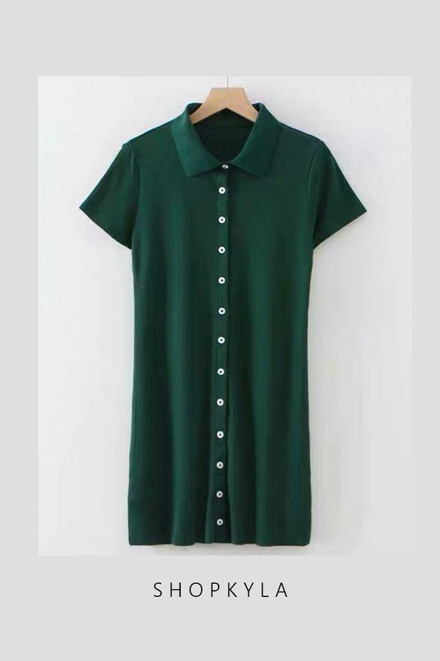 SG IN STOCK  - POLO COLLAR BUTTON DOWN DRESS IN GREEN