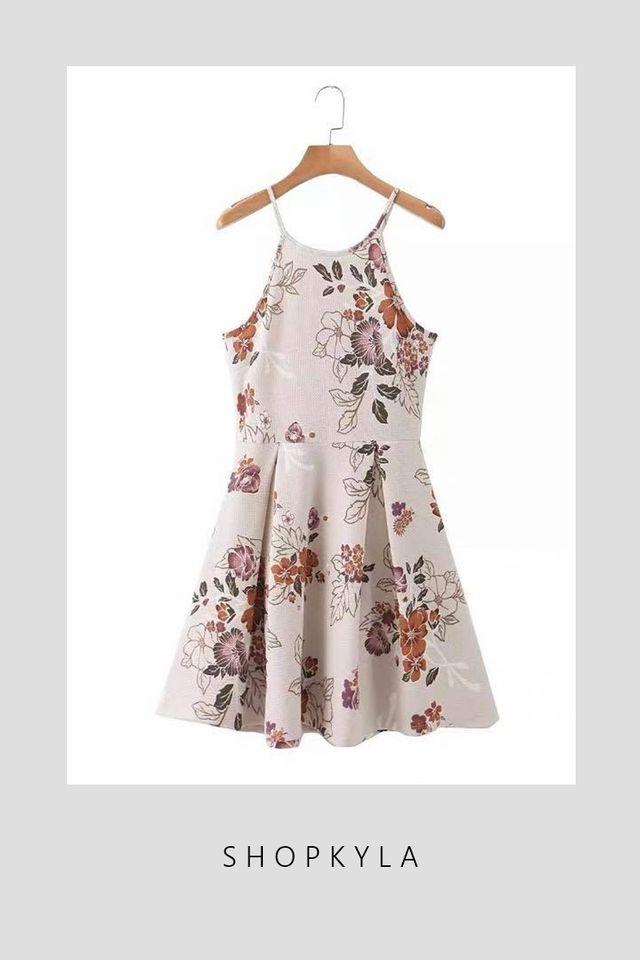 BACKORDER- ZOE FLORAL DRESS IN BEIGH