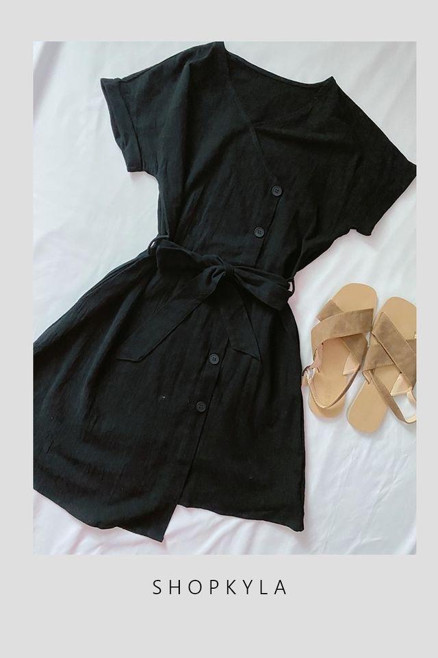 SG IN STOCK - CERIAN LINEN DRESS IN BLACK