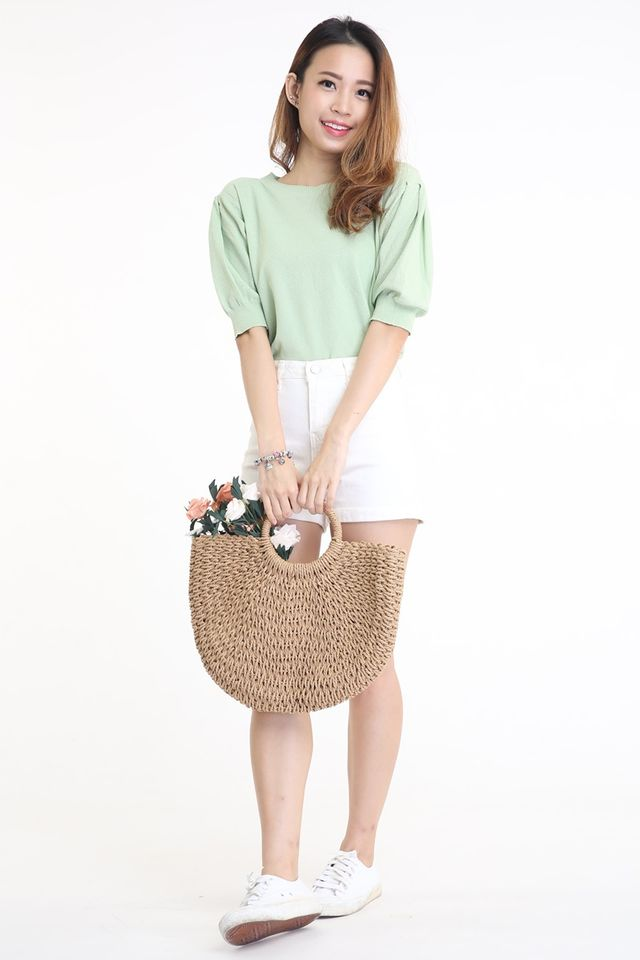 SG IN STOCK - RATTAN STRAW BAG IN BROWN