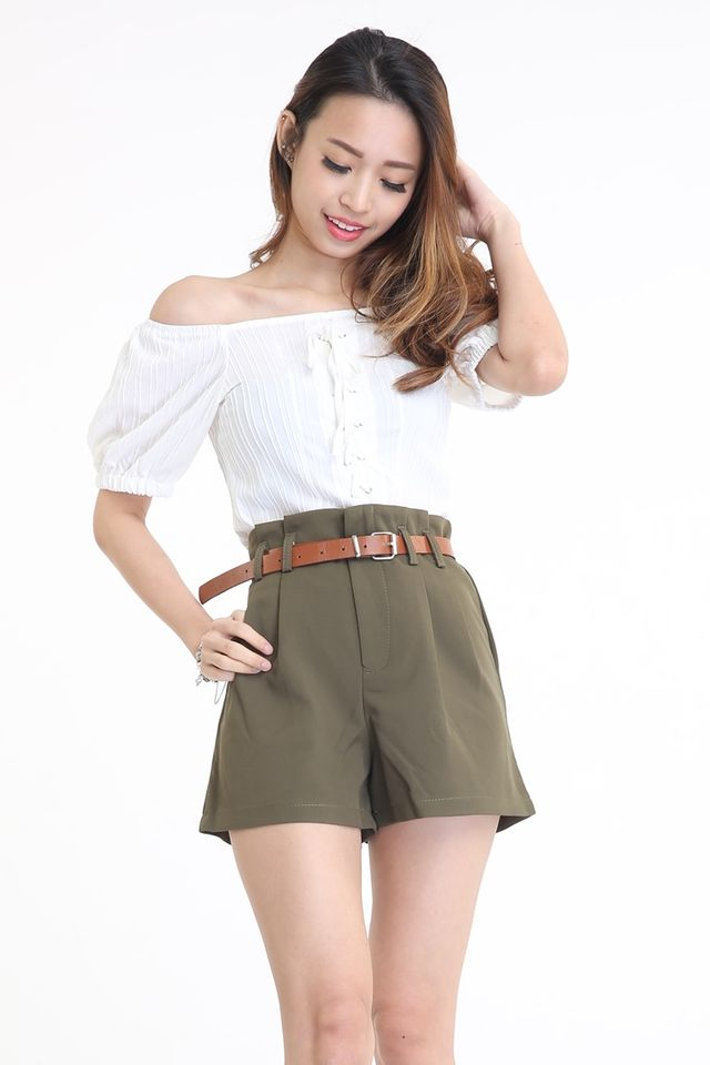 SG IN STOCK - SHORT PANTS WITH BELT IN ARMY GREEN