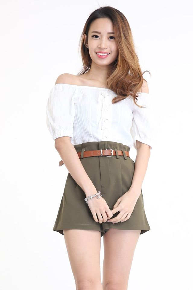 BACKORDER - RONA SHOELACE TOP IN WHITE