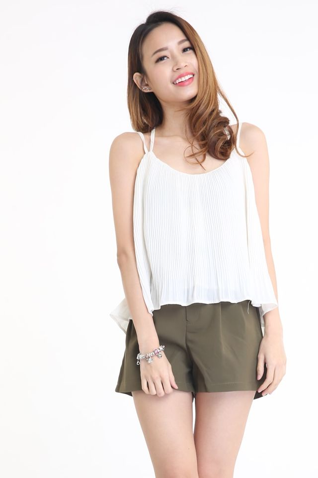 SG IN STOCK - ZONA PLEATED TWO WAY TOP IN WHITE