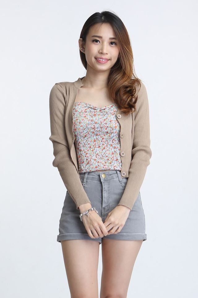 SG IN STOCK - TANNER  CROP KNIT CARDIGAN IN  BROWN