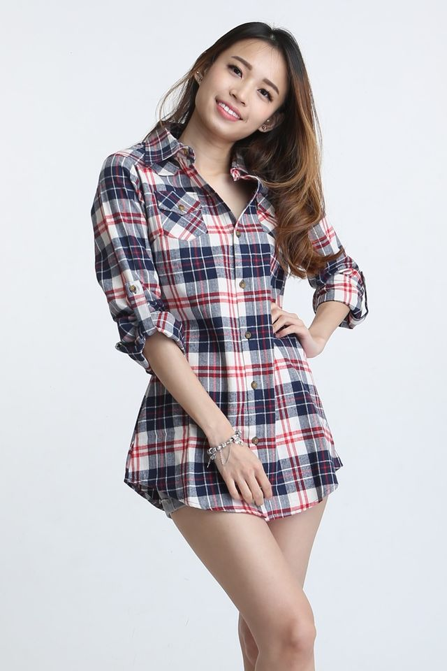 BACKORDER - HILARIA CHECKERED BLOUSE IN BLUE RED