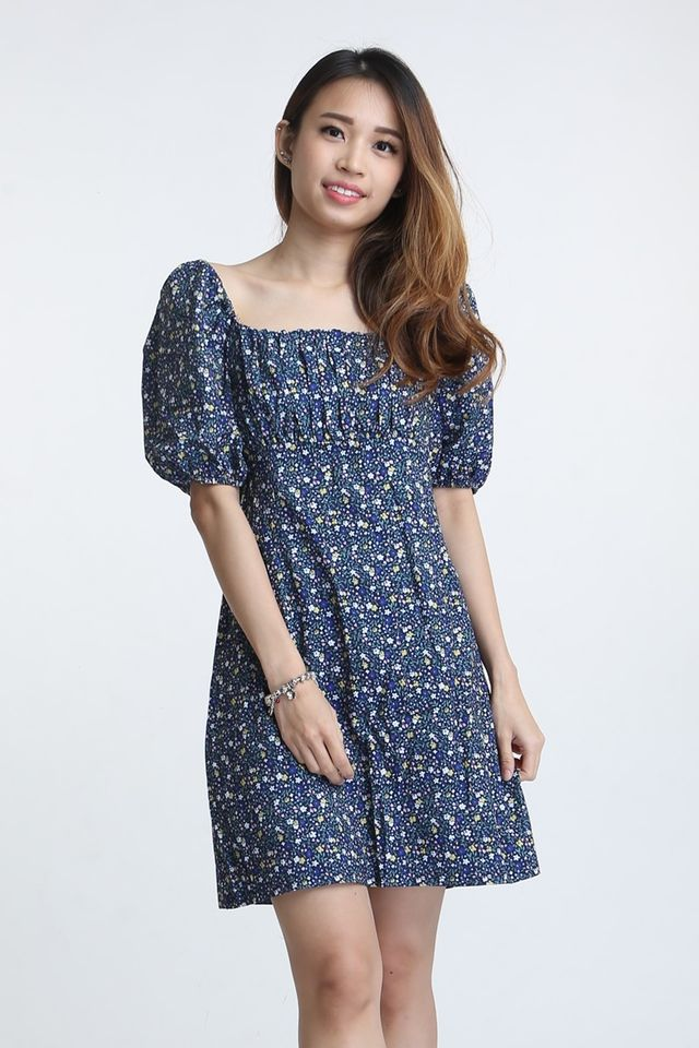 SG IN STOCK - PACEY FLORAL DRESS IN BLUE