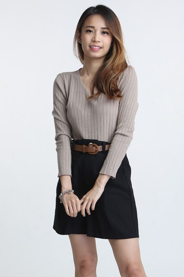 SG IN STOCK - PADDY LONG SLEEVE TOP IN BROWN
