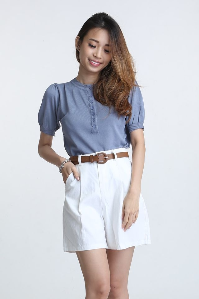 BACKORDER - ZANNE BUTTON TOP IN BLUE