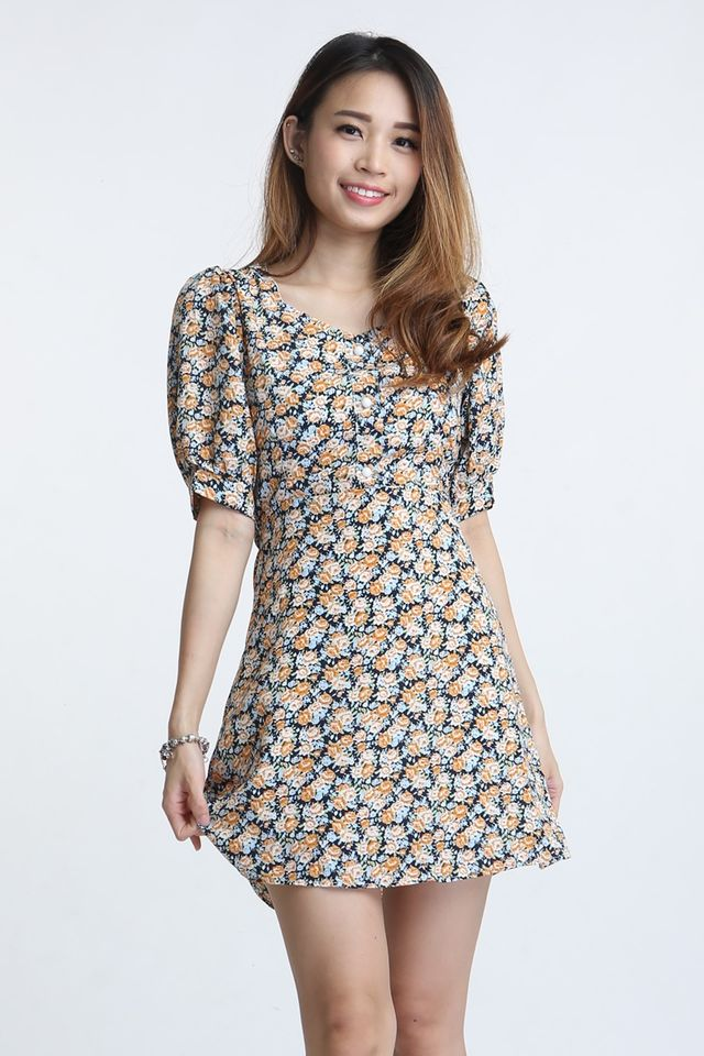SG IN STOCK - ADAM CUT OUT BACK FLORAL DRESS IN YELLOW