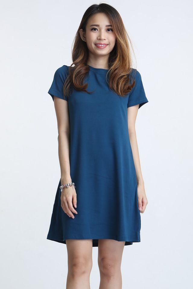 BACKORDER- WALID SHIFT DRESS IN BLUE TEAL