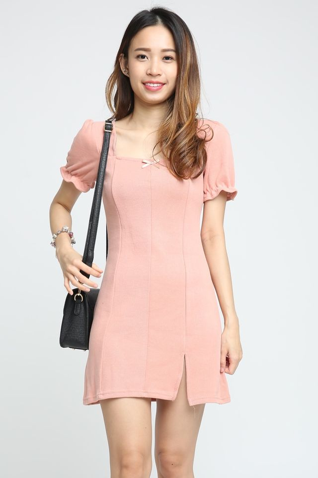 SG IN STOCK - SYLVIE PUFF SLEEVE MINI DRESS IN PINK