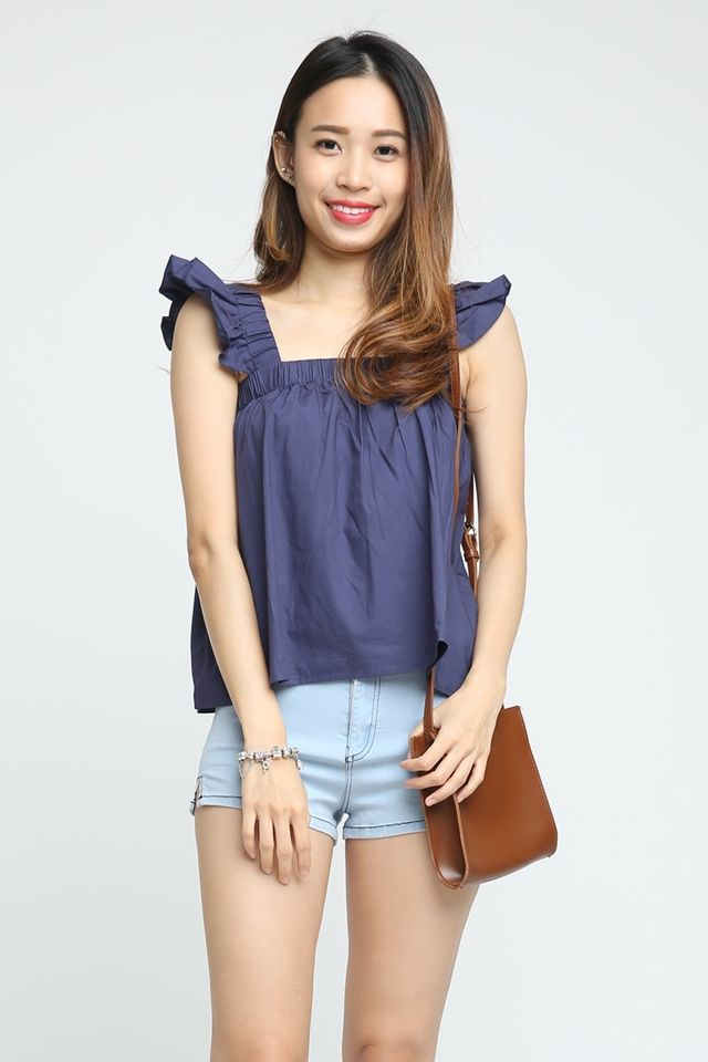 SG IN STOCK - POSEY RUFFLES SLEEVE TOP IN NAVY