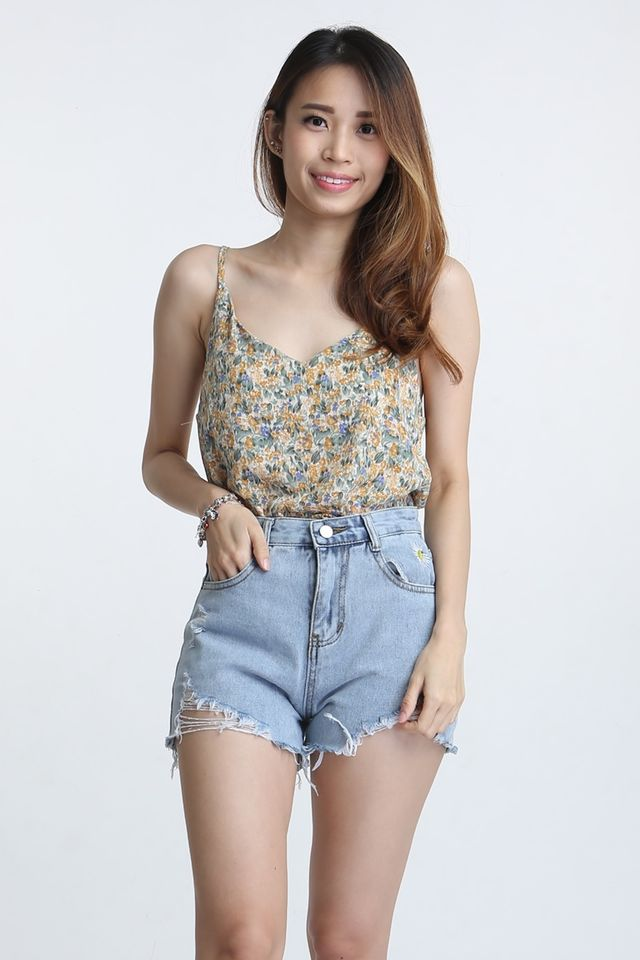 BACKORDER - BRIANNA FLORAL SPAG TOP IN YELLOW