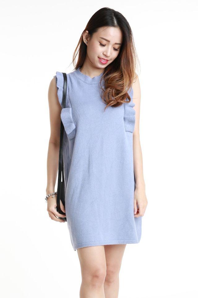 SG IN STOCK - WYATT KNIT DRESS IN LIGHT BLUE