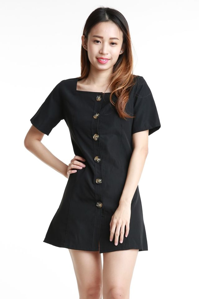 BACKORDER- RYATT BUTTON DOWN DRESS IN BLACK