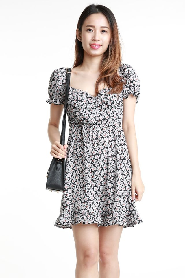 SG IN STOCK - SAREN FLORAL DRESS IN BLACK