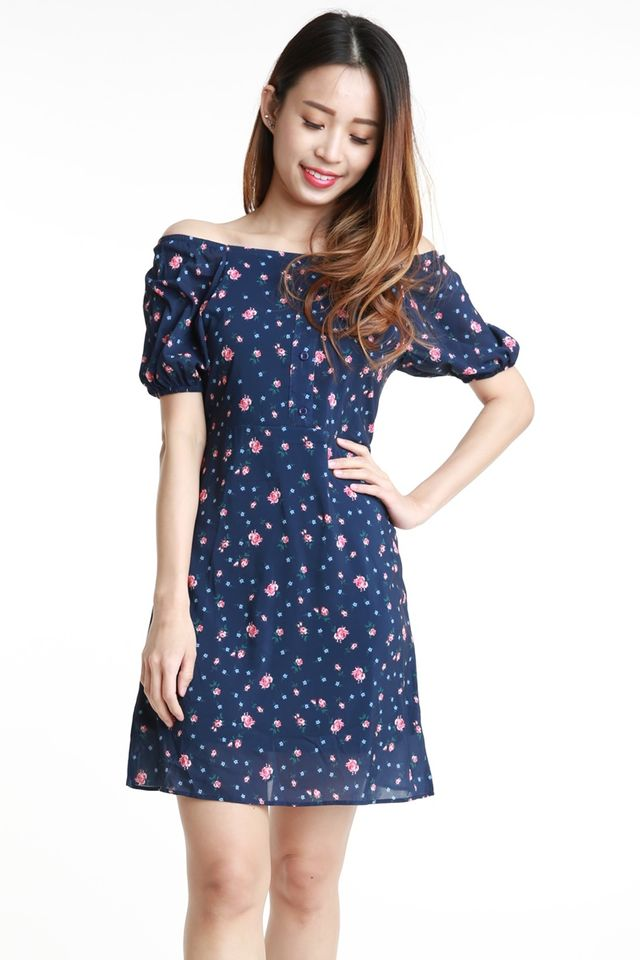 SG IN STOCK  - HANNA FLORAL DRESS IN NAVY
