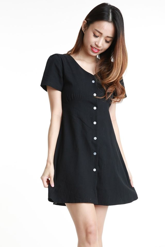 SG IN STOCK - ARRA LINEN DRESS IN BLACK