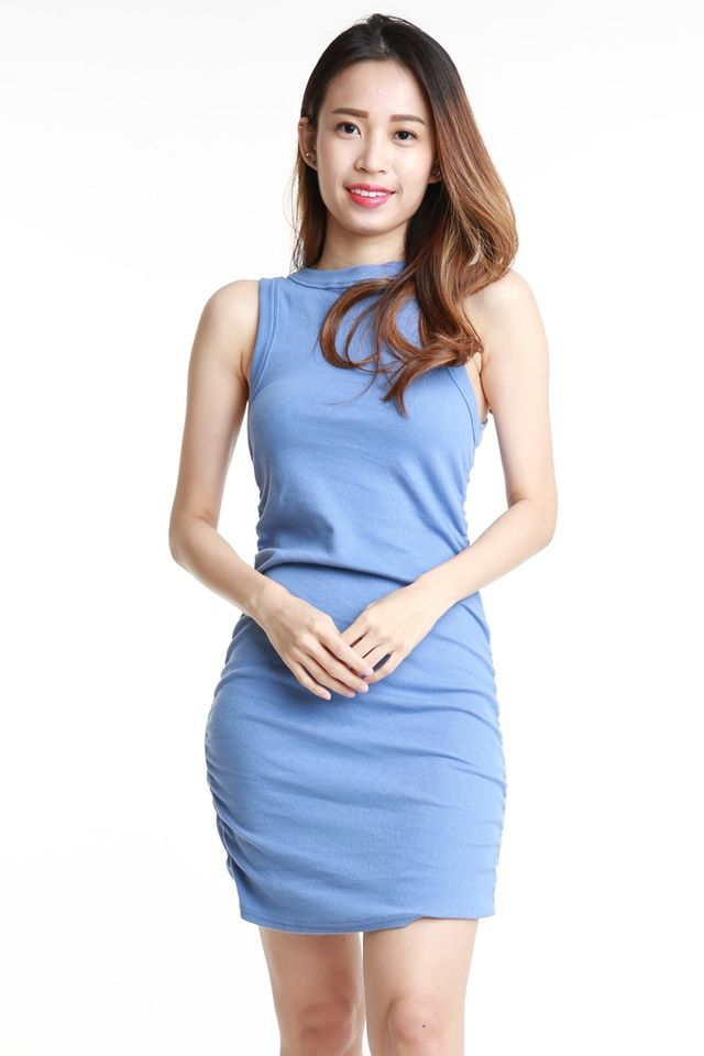 SG IN STOCK - ZUCAS RUCHED DRESS IN BLUE