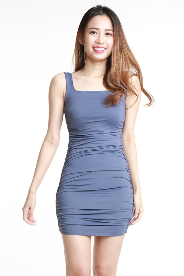 IN STOCK- ZEVI RUCHED DRESS IN PURPLE BLUE