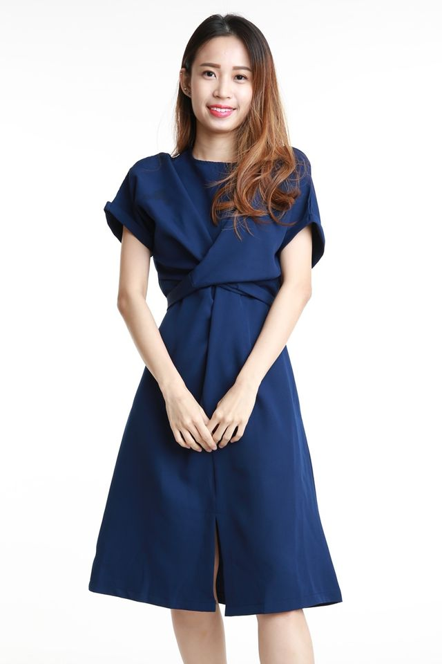 BACKORDER- SONNY TIE WAIST  DRESS IN NAVY