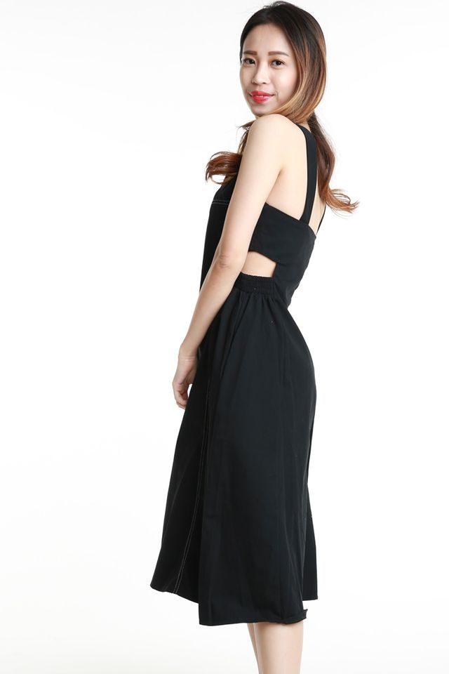 BACKORDER- CALVIN WAIST CUT OUT DRESS IN BLACK