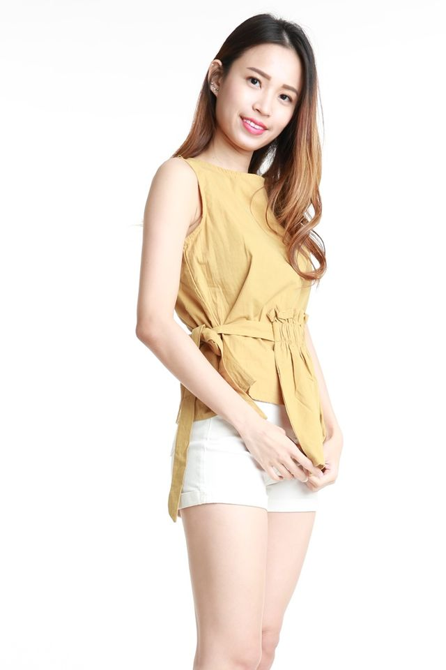 BACKORDER  - KYE TOP IN MUSTARD YELLOW