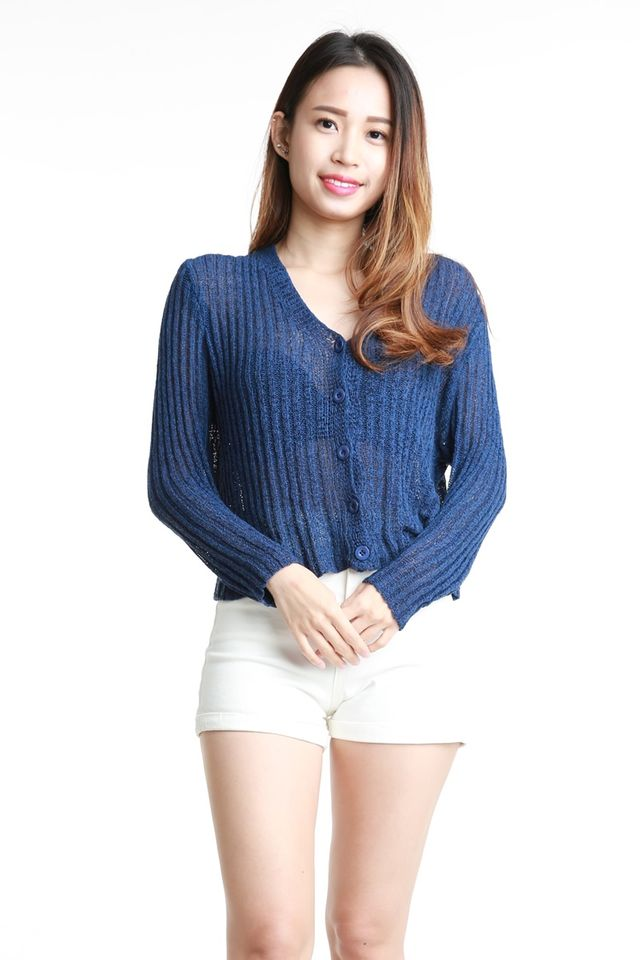 SG IN STOCK  - JASPER KNIT CARDIGAN IN BLUE