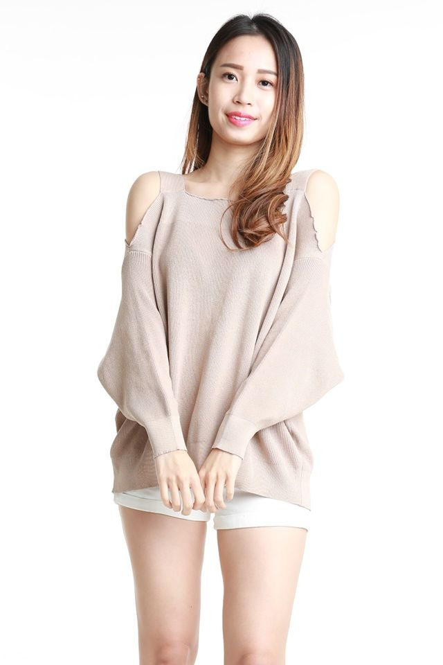 BACKORDER  - OLIVIA OVERSIZE KNIT TOP IN LIGHT BEIGH