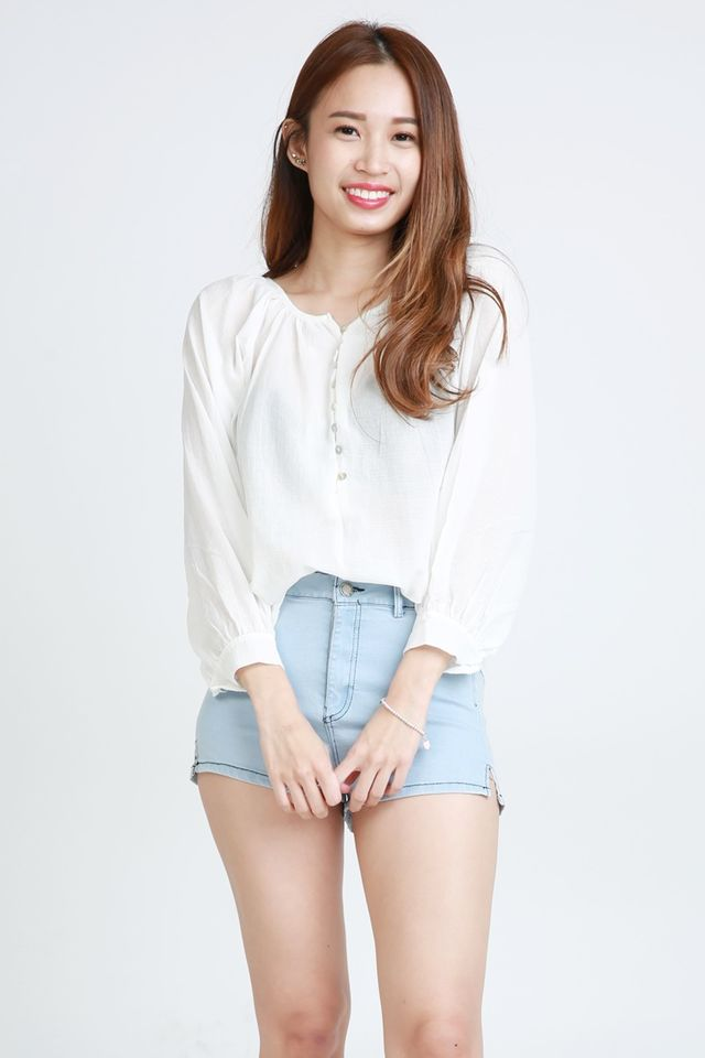 BACKORDER - ASHTONS LINEN BLOUSE IN WHITE