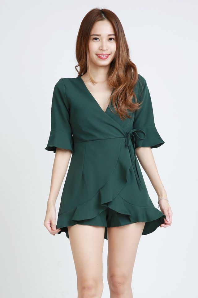 SG IN STOCK - MARLIN DRESS IN DARK GREEN (WITH INNER PANTS)