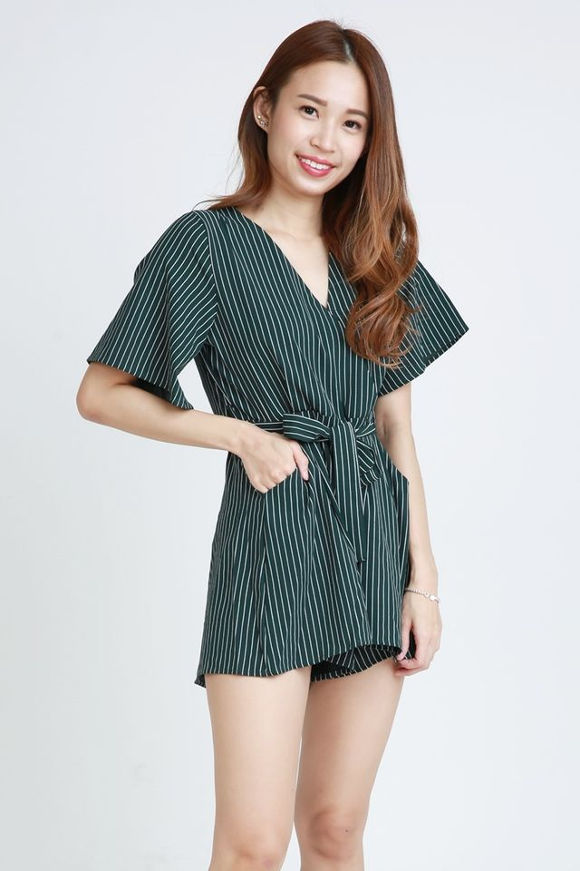 SG IN STOCK - STELLY STRIPES ROMPER IN GREEN