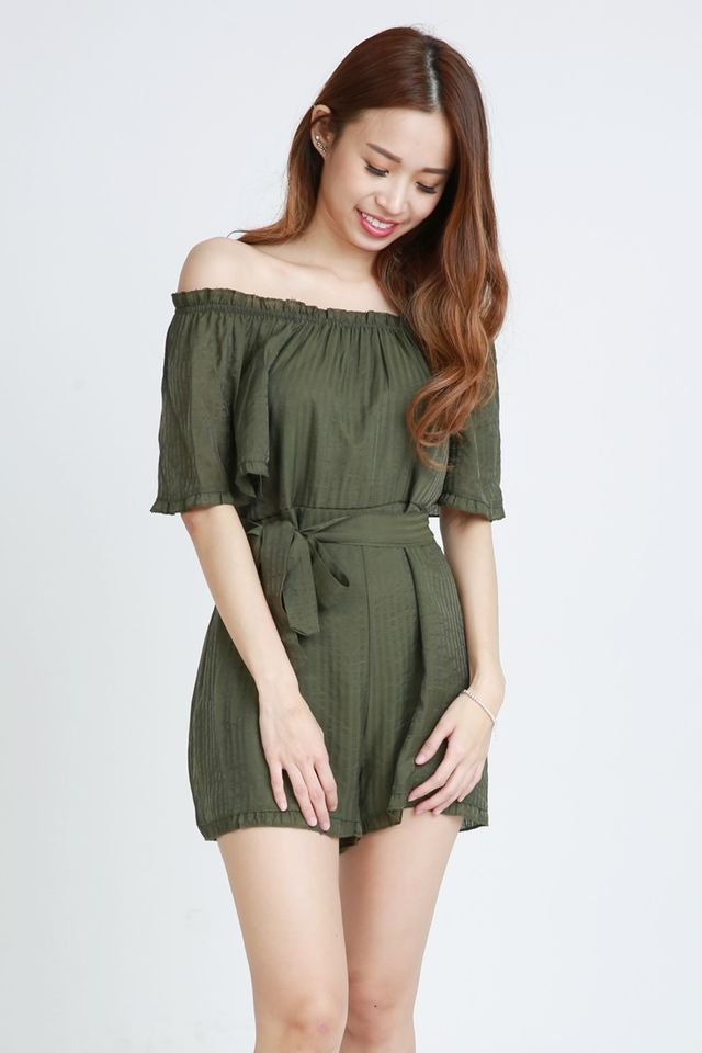 IN STOCK - JULIA OFF SHOULDER ROMPER IN GREEN