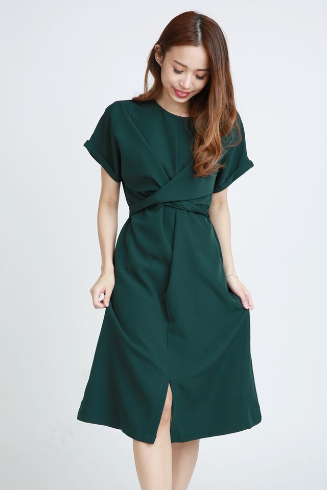 SG IN STOCK - SONNY TIE WAIST  DRESS IN GREEN