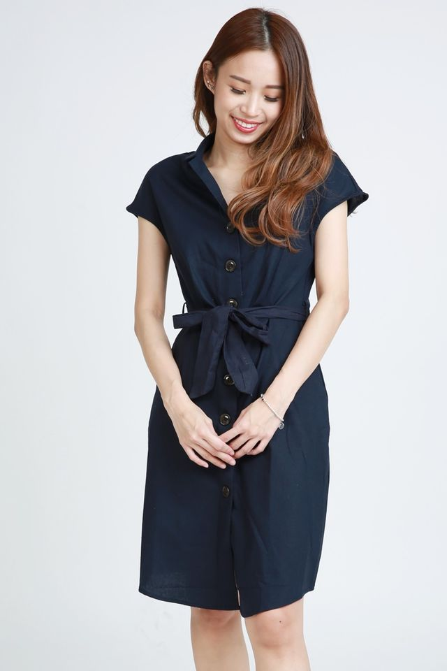SG ORDER ONLY- FELICIA LINEN DRESS IN NAVY