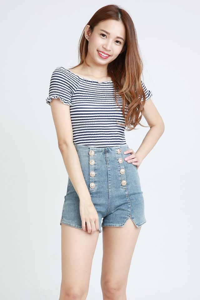 BACKORDER  - JOVIE ELASTIC STRIPES TOP IN NAVY WHITE